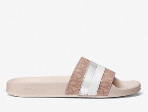 MICHAEL KORS Brandy Metallic Striped Logo Slide Sandal Size 7 SOFT PINK NIB