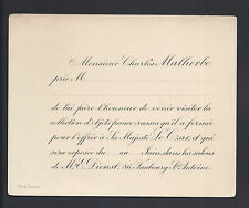 Charles Malherbe Invitation to Private Viewing of Franco-Russian Objects