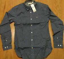 Mens Authentic Lacoste Striped Poplin Button Up Shirt Blue 38 Small Slim $125
