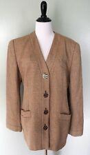 CARLISLE Brown Tan Beige 4 Gold Button Career Work Wool Blazer Coat Jacket Sz 14