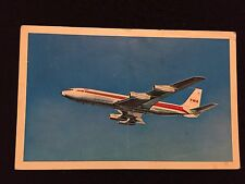 TWA Trans World Airlines plane in flight   POSTCARD postmarked 1967