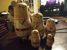 5 Piece Set Nesting dolls Baseball Playing Bears Nice Clean