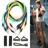 11PCS RESISTANCE BANDS SET HEAVY WORKOUT EXERCISE YOGA CROSSFIT FITNESS TUBES