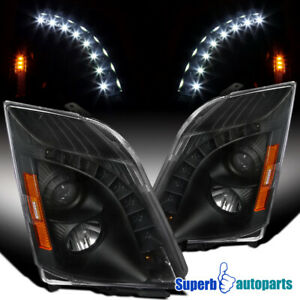 For 2008-2014 Cadillac CTS Black Projector Headlights Lamps L+R
