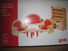 Puppenmöbel Puppenstube Wohnzimmer aus Holz Buche massiv 5 Teile *NEU*