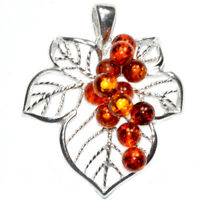 7g Authentic Baltic Amber 925 Sterling Silver Pendant Jewelry N-A234