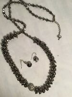 Necklace and Earring Set Bead, Silver-tone and Grey