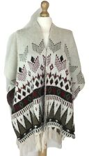 New Women Ladies Warm Aztec Poncho Wrap One Size