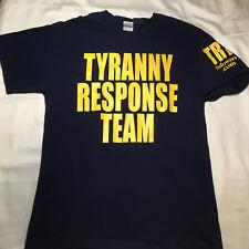 Infowars Large T-shirt Tyranny Response Team Alex Jones Navy Yellow