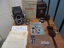 Rolleiflex TLR 3.5 E  Carl Zeiss Planar lens, hood, box, paperwork, untested
