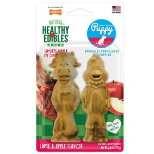 Nylabone Healthy Edibles Big Puppy Pals Lamb & Apple Dog Treat 2ct.  Free Shippi