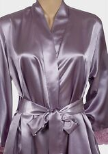 Beautiful lilac  silky satin gold lace cuff wrap - dressing gown