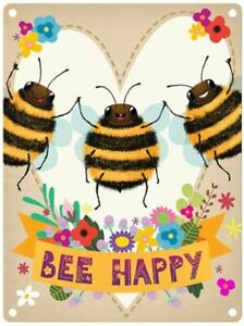 Bee Happy (Bumblebee Flowery Heart) Large Metal Sign(og)