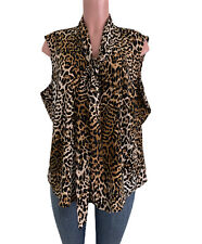 Calvin Klein Plus Size 2X leopard Print Tie V-Neck Button Front Sleeveless