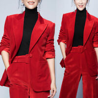 Blazer Suit Jacket Two Pieces Women's Corduroy Red Party Office Ladies Pant Suit