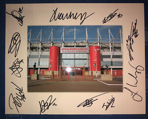 Middlesbrough FC Boro 21/22 HAND SIGNED 10x8 MOUNT DISPLAY Signed By 12 Player D