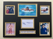 """Swimming Mark Spitz Signed 16"""" X 12"""" Double Mounted Display"""
