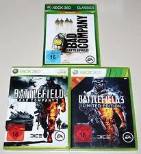 3 XBOX 360 SPIELE BUNDLE - BATTLEFIELD BAD COMPANY 1 & 2 & BF 3 LIMITED EDITION