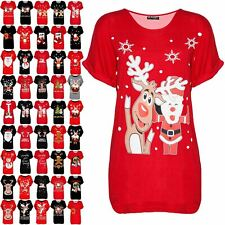 Ladies Christmas Batwing Womens Baggy Big Nose Reindeer Oversized Xmas T Shirt