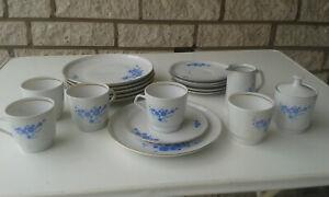 Kaffeeservice - CP Colditz - weiß mit blauem Dekor - Goldrand