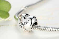 925 Silver Sterling sister Heart stone Charm best friends birthday love charm