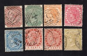 Mauritius 1883-94 8 stamps SG#102-07+110+109 used CV=35$