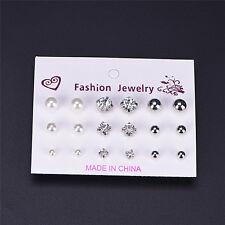 9 Pair Fashion Rhinestone Crystal Pearl Earrings Set Women Ear Stud Jewelry P8 Silver