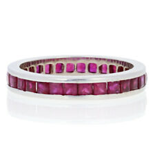 4.50ctw Square Cut Ruby Eternity Band - 14k White Gold Ring Size 12 3/4