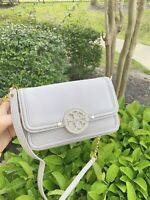 NWT Tory Burch Amanda Shoulder Leather Crossbody Bag Mercury/Grey
