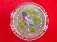 2012 25-Cent Coloured Coin  Rose-Breasted Grosbeak - No Tax