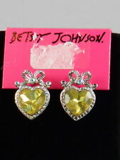 Betsey Johnson Silvertone Clear Pave' Bow Yellow Heart Stone Stud Earrings $30