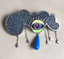 NEW! Marc Jacobs Julie See All Cloud Pin Brooch, Silver & Multi Color, Size 70MM