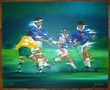 Spahn Victor lithographie signée numérotée sport rugby à XIII internationaux