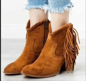 Winter Womens Pointy Toe Boots Tassels Block Heels Ankle Boots Shoes Casual Hot