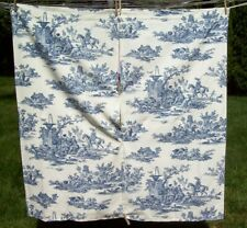 French Country Navy- Dark Blue Toile Drapery Curtains (4 sets) Rod Pocket