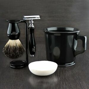 5Pc Shaving Kit DE Safety Razor, Black Badger Hair Brush, Stand, Soap & Mug Set