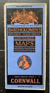 CORNWALL - VINTAGE MAP, full colour Bartholomew's Half Inch on CLOTH - 1949