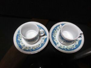 Vintage mini Blue Floral espresso/Demitasse Tea Cup & Saucer Set China