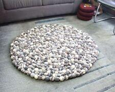 Natural River Pebbles Felt Rug, 100 cm Felt Wool Pebble Rug, 5cm Felt Balls