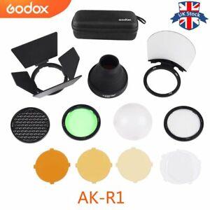 UK Godox AK-R1 Barn Door Snoot Color Filter Reflector Honeycomb For AD200 V1