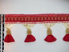 """3"""" Delightful Tassel Fringe Trim Gold & Red Wholesale 50 Yards"""