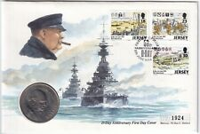 More details for 1994   jersey sir winston spencer churchill fdc w/1965 crown   coins   km coins