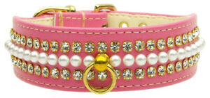 Elegant RHINESTONE Pearl & Jewel BLING DOG COLLAR in Pink ~ Handcrafted in USA!