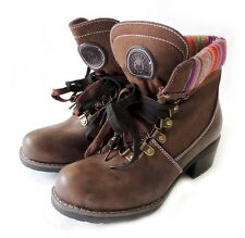NEW FASHION WOMEN SHOES LACE UP MID CALF MILITARY COMBAT BOOTS ANNE - 01 / Brown
