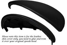 BLACK STITCH SPEEDO HOOD LEATHER COVER FITS FIAT PUNTO GRANDE ABARTH EVO 10-14