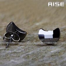 New Gift Mens & Womens Tungsten Carbide Moon Stud Earrings C13