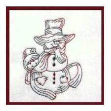 1118:   Machine Embroidery Designs - Snowmen I - Redwork