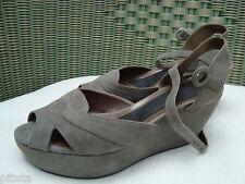 AUTH MARNI Grey Suede Platform Wedge Sandals Size 40