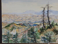 Ca 1970's 'LOS PADRES NATIONAL FOREST' Vintage Watercolor Painting Mid century