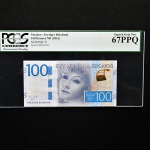 Sweden 100 Kronor, ND 2016, Pick # 71, PCGS 67 PPQ Superb Gem New